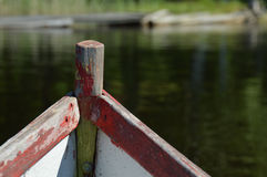 Weathered front part of an old boat - returning home safely Stock Photos