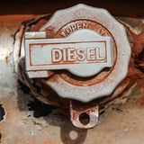 Weathered fuel cap tank car Stock Photography