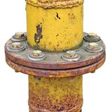 Weathered gas pipe connection flange isolated. Weathered old aged grunge gas pipe connection flange joints, isolated Stock Photo