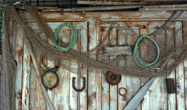 Weathered gear shed door Stock Image