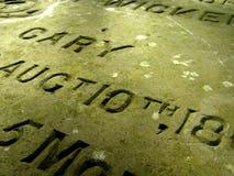 Weathered gravestone tomb inscription Royalty Free Stock Photo