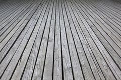 Weathered gray wood deck for wood background Royalty Free Stock Images