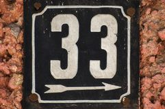 Weathered enameled plate number 33 stock images