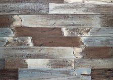 Weathered ha dipinto la pavimentazione laminata di legno Annata, fondo e struttura fotografie stock libere da diritti
