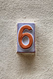Weathered house number six6 royalty free stock image