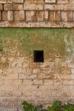 Weathered knackte Backsteinmauer mit grünen Farbenflecken Stockfoto