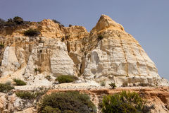 Weathered limestone rocks on the southwest coast of Spain Royalty Free Stock Images