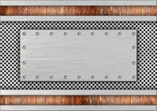 Weathered metal plate, gray steel mesh background stock illustration