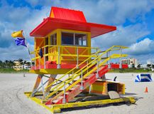 Weathered Miami Beach Ocean-Rescue Station. A weathered ocean-rescue stations survivor of Hurricane Irene back in service on the beach at Miami Beach,Florida Royalty Free Stock Photo