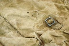 Weathered Military  Canvas Bag  Textured Background Royalty Free Stock Photography
