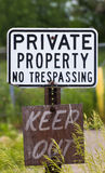 Weathered No Trespassing Sign Stock Image