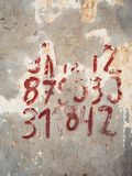 Weathered numbers on the wall Royalty Free Stock Images