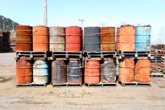 Weathered oil drums Royalty Free Stock Images