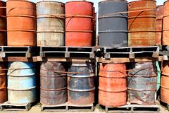 Weathered oil drums Royalty Free Stock Photos