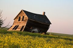 Weathered old farm house. In scenic Saskatchewan Canada Royalty Free Stock Image