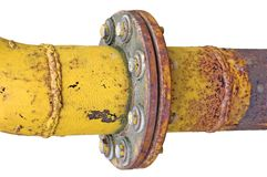 Weathered old gas pipe connection flange isolated. Weathered old aged grunge gas pipe connection flange joints, isolated Stock Photography