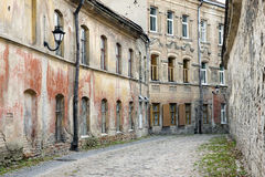 Weathered old town street. In abandoned part of Vilnius, Lithuania Royalty Free Stock Photo