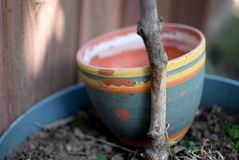 Weathered Painted Terra Cotta Flower Pot Royalty Free Stock Image