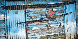 Weathered painting of vintage plane Stock Images
