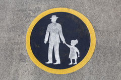 Weathered Pedestrian Pavement Sign Royalty Free Stock Photo