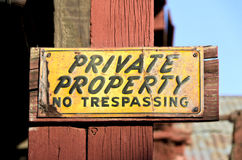 Weathered Private Property Sign Royalty Free Stock Image
