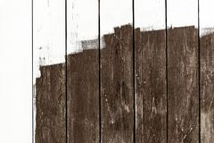 Weathered railings or wooden slats background with unfinished wh. Ite paint, copyspace Royalty Free Stock Photography