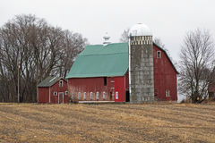 Weathered Red Barn in a Corn Field Royalty Free Stock Photos