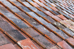 Weathered red roof tiling background texture Royalty Free Stock Photos