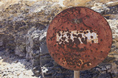 Weathered road sign from the 50s Royalty Free Stock Image
