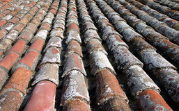 Weathered roof tiles. Old roof tiles on a roof in Spain forming parallel lines Royalty Free Stock Photo
