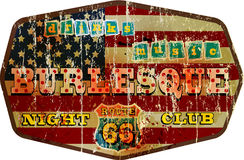 Weathered route 66 night club enamel sign, Royalty Free Stock Image