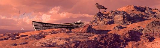 Weathered Rowboat On Coast. Weathered rowboat and seagull on rocky coastline stock illustration