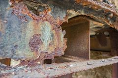 Rusty steel girder detail. Weathered rusty detail showing a et away steel girder Royalty Free Stock Photography