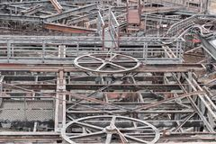 Rusty industrial scenery. Weathered rusty industrial scenery with lots of old corroded steel girders Royalty Free Stock Images