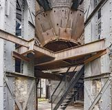 Rusty industrial scenery. Weathered rusty industrial scenery with old corroded steel girders and plates Royalty Free Stock Photos