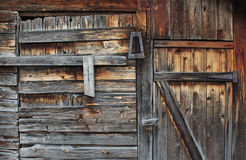 Weathered Shed. A weathered shed made out of pine with latch and hinges Royalty Free Stock Images