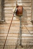 Rickety old outhouse made of wood and on a farm in Idaho royalty free stock images