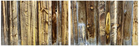 Wood panel wall boards tarnished background collage. Weathered stained cracked rotten wooden wall boards collage on outdoor barn shed western rural background Stock Image