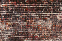 Weathered stained old dark brick wall, texture grunge background Royalty Free Stock Images