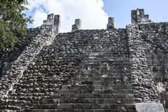 The weathered stairway of the ancient Mayan building ruins of Ma Stock Image
