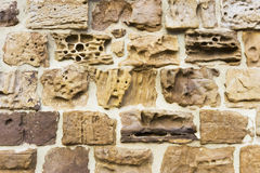 Weathered stone texture. Detail of old stone wall Stock Images