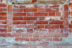 Weathered texture of stained old dark brown and red brick wall background, grungy rusty blocks of stone-work technology, colorful Royalty Free Stock Image