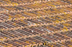 Weathered tiles of house roof stock photos