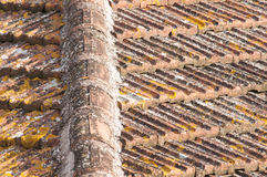 Weathered tiles of house roof royalty free stock image