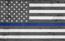 Weathered USA thin blue line flag. Weathered United States of America thin blue line flag Stock Photography