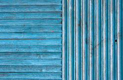 Blue Weathered Wood Fence Background Stock Images