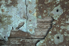 Weathered wood and corroded metal Royalty Free Stock Photo
