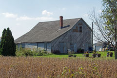 Weathered Wood Farm Building Sunny Day Stock Photo