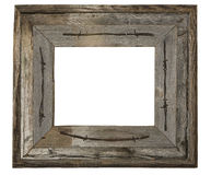 Weathered wood photo frame barbed wire isolated Royalty Free Stock Images