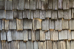 Weathered wood plank shingles background Royalty Free Stock Images